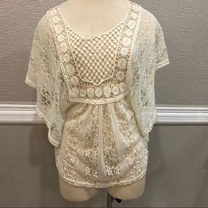American Rag Cie Womens Ladies Ivory Lace Blouse